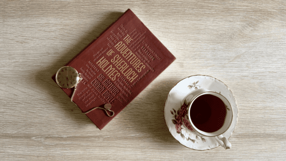 Adventures of Sherlock Holmes cover with tea feature-min